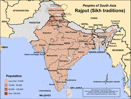 Map of Rajput (Sikh traditions) in India
