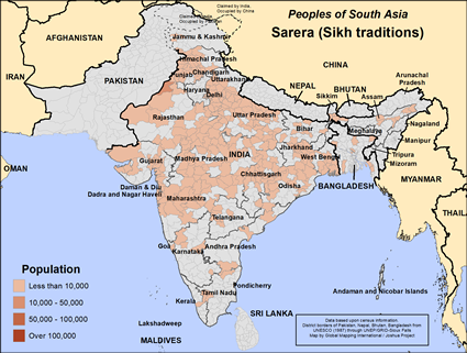 Map of Sarera (Sikh traditions) in India