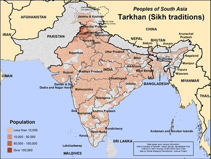 Map of Tarkhan (Sikh traditions) in India