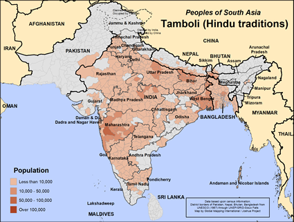 Map of Tamboli (Hindu traditions) in India