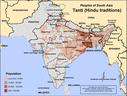Map of Tanti (Hindu traditions) in India