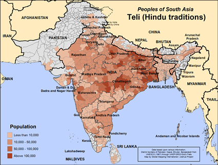 Map of Teli (Hindu traditions) in India