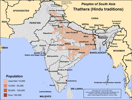 Map of Thathera (Hindu traditions) in India