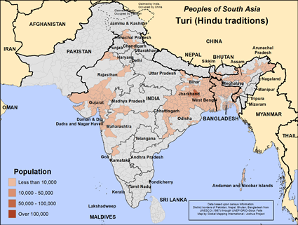 Map of Turi (Hindu traditions) in India