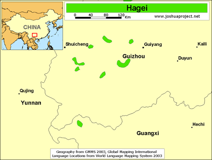 Map of Hagei in China