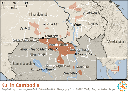 Map of Kui in Cambodia
