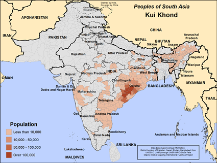 Map of Kui Khond in India
