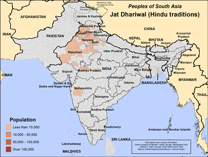 Map of Jat Dhariwal (Hindu traditions) in India