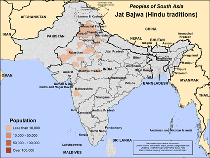 Map of Jat Bajwa (Hindu traditions) in India