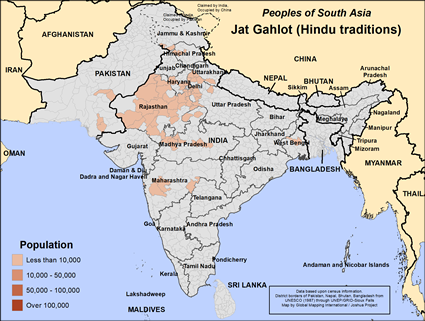 Map of Jat Gahlot (Hindu traditions) in India