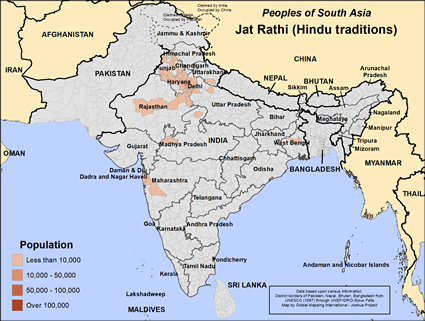 Map of Jat Rathi (Hindu traditions) in India