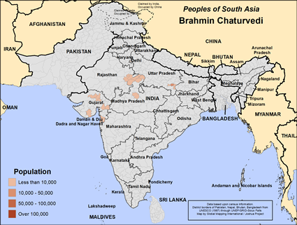 Map of Brahmin Chaturvedi in India