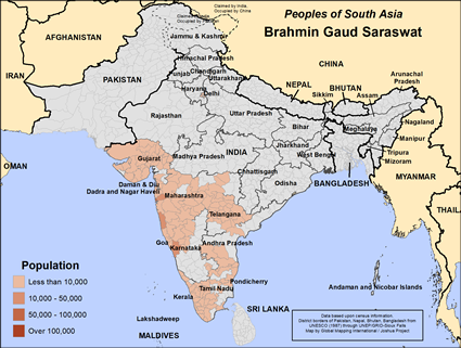 Map of Brahmin Gaud Saraswat in India