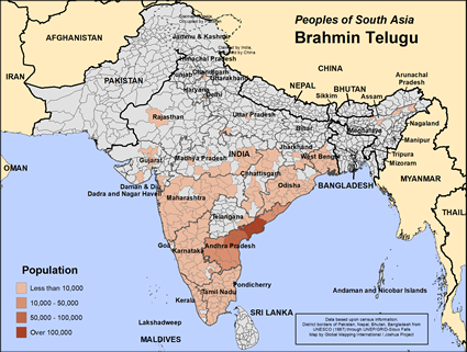 Map of Brahmin Telugu in India