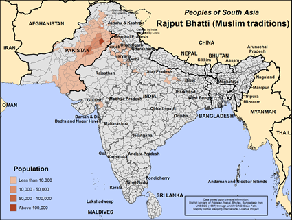 Map of Rajput Bhatti (Muslim traditions) in India