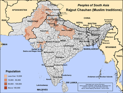 Map of Rajput Chauhan (Muslim traditions) in Pakistan