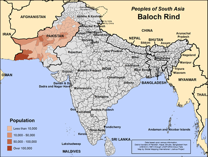 Map of Baloch Rind in Pakistan
