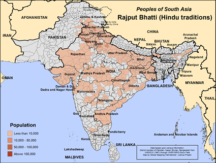 Map of Rajput Bhatti (Hindu traditions) in India
