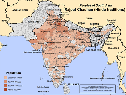 Map of Rajput Chauhan (Hindu traditions) in India