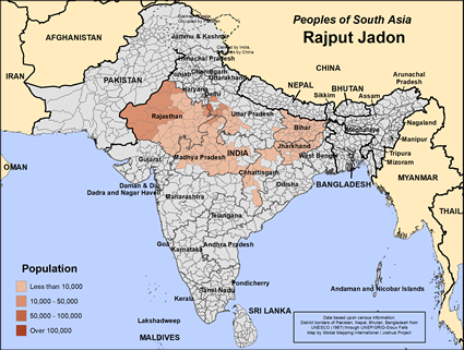 Map of Rajput Jadon in India