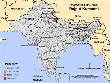 Map of Rajput Kumaoni in India