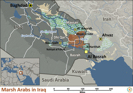 Map of Arab, Marsh in Iraq