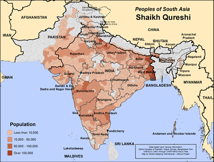 Map of Shaikh Qureshi in India