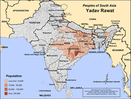 Map of Yadav Rawat in India