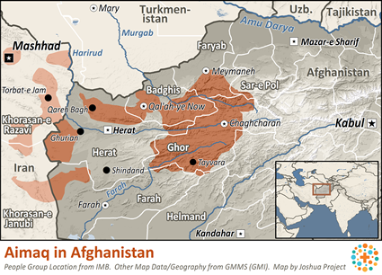 Map of Aimaq in Afghanistan