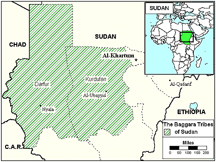 Fezara, Juhayna in Sudan map