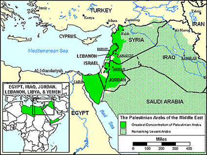 Arab, Palestinian of United States map