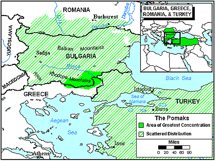 Pomak of Romania map
