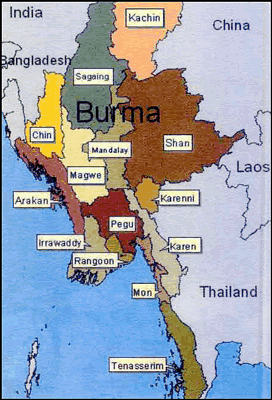 Chin, Chinbon of Myanmar (Burma) map