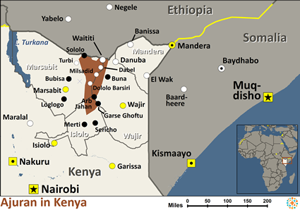 Ajuran of Kenya map