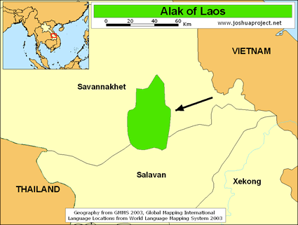 Alak of Laos map