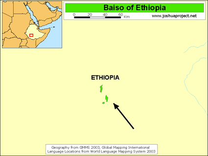 Baiso of Ethiopia map