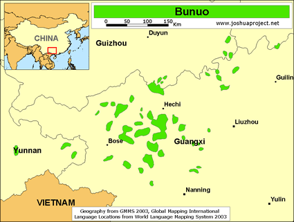 Bunuo of China map