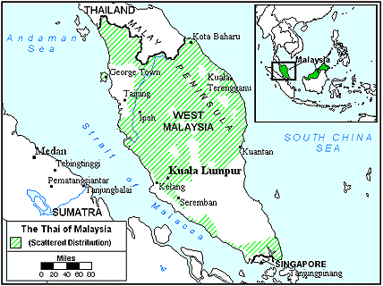 Thai, Central of Malaysia map
