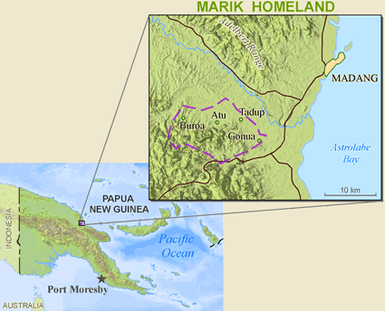 Dami, Ham of Papua New Guinea map