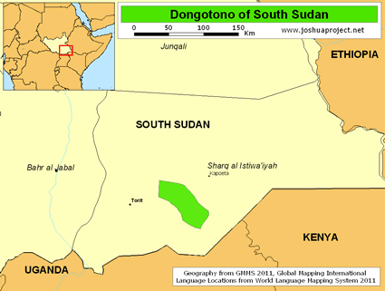 Dongotono of South Sudan map