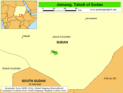 Jomang, Talodi of Sudan map