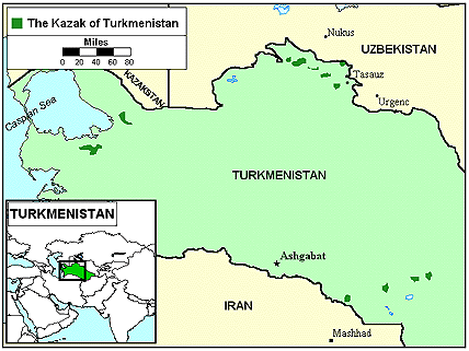 Kazakh of Turkmenistan map