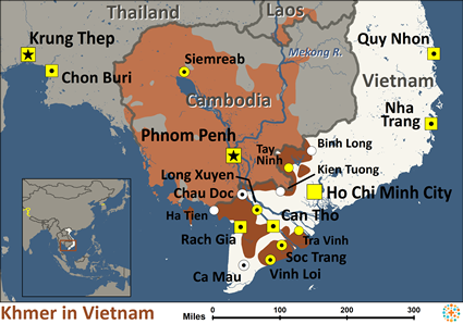 Khmer, Central of Vietnam map