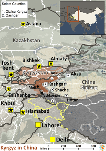 Kyrgyz of China map