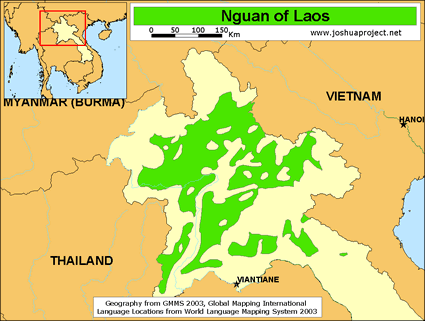 Nguan in Laos map