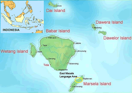 Masela, East of Indonesia map