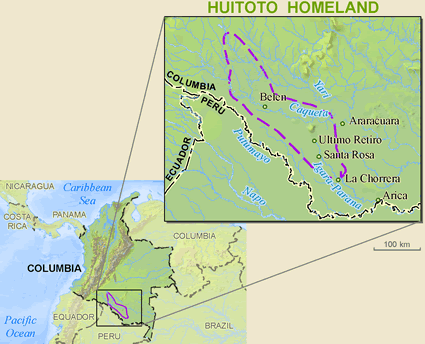 Meneca Huitoto of Colombia map