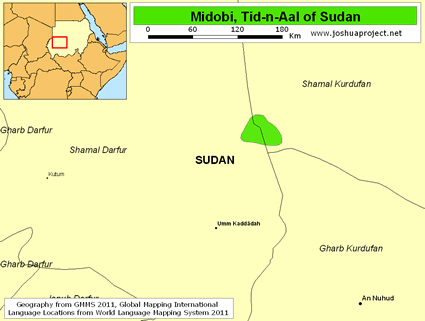 Midobi, Tid-n-Aal of Sudan map