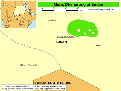 Moro, Dhimorong of Sudan map