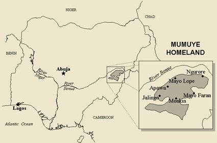 Mumuye of Cameroon map